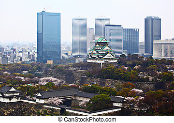 Osaka cityscape and castle in Japan