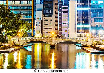 Osaka financial district with bridge