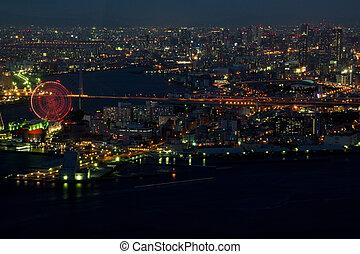 Osaka harbor area at night