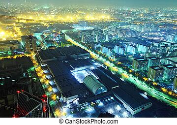 Osaka harbor at night