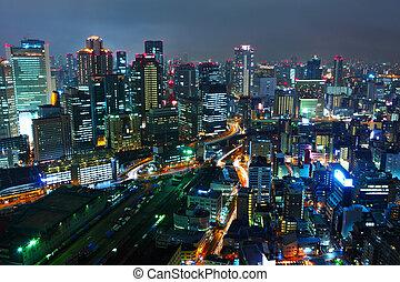 Osaka in Japan at night