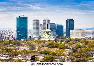 Osaka, Japan at skyline