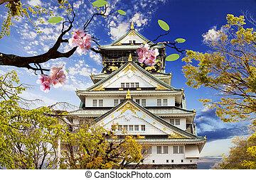 osaka, japan., castello, osaka