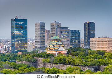 Osaka, Japan cityscape and castle