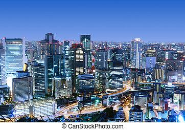 Osaka Japan - Dense skyline of Umeda District, Osaka, Japan
