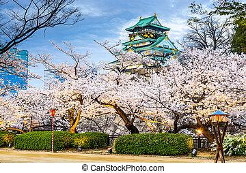 osaka, japan, op, osaka kasteel, gedurende, de, lente,...
