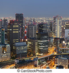Osaka Japan skyline and traffic