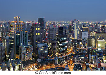 Osaka Japan skyline downtown at night