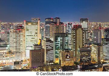 Osaka night lights city