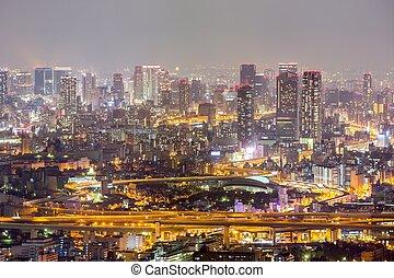 Osaka night - Osaka skyline building at night, Japan