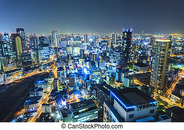 Osaka night view in downtown, Japan.