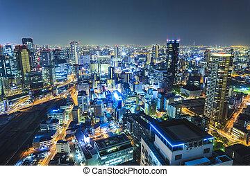 Osaka night view in downtown, Japan.