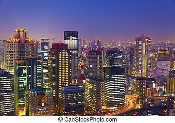 Osaka night view in Japan
