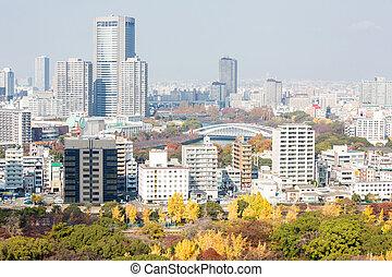 Osaka skyline building