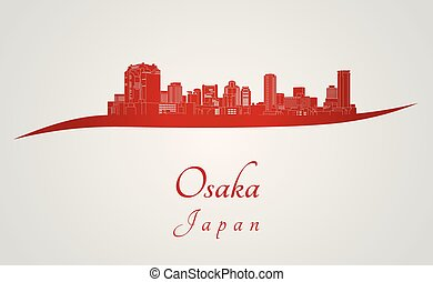 Osaka skyline in red and gray background in editable vector...