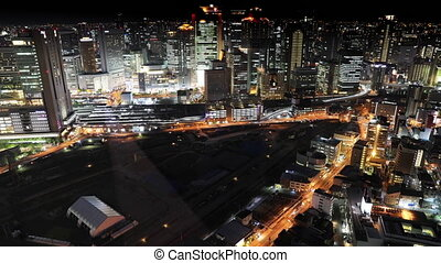 Osaka skyline night