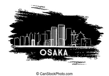 Osaka Skyline Silhouette. Hand Drawn Sketch.