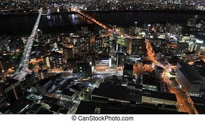 Osaka skyline timelapse - Aerial view time lapse of Osaka...