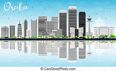 Osaka Skyline with Gray Buildings, Blue Sky and Reflections.