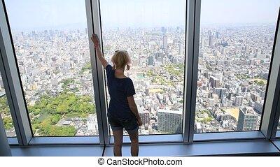 Osaka woman cityscape