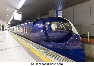 OSAKA,JAPAN, FEB 09: Nankai train depart from Osaka station on 09 february 2015. Rail transport services are well developed in Japan and they are provided by more than 100 private companies.