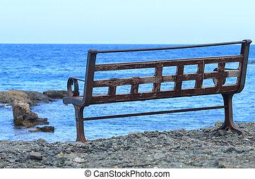 osamělý, lavice, blízký, ta, moře, do, phaselis.