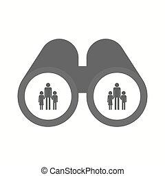 osamocený, dalekohled, s, jeden, mužský, svobodný původ rodinný, piktogram