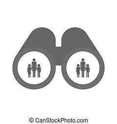 osamocený, dalekohled, s, jeden, samičí, svobodný původ rodinný, piktogram