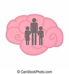 osamocený, mozek, s, jeden, mužský, svobodný původ rodinný, piktogram