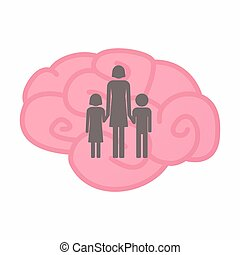 osamocený, mozek, s, jeden, samičí, svobodný původ rodinný, piktogram