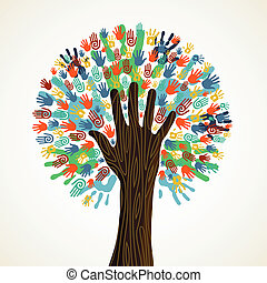 osamocený, rozmanitost, strom, ruce