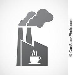 osamocený, továrna, ikona, s, jeden, číše k káva