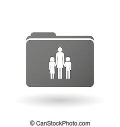 osamocený, vazač, s, jeden, samičí, svobodný původ rodinný, piktogram