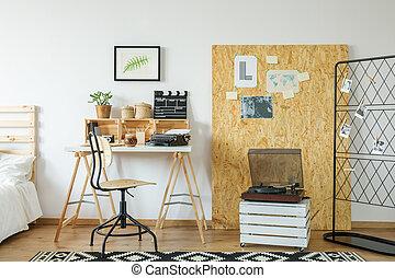 osb, bureau, kamer, plank