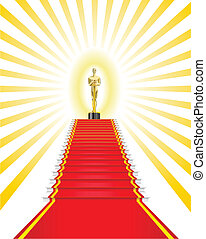 Oscar Award. - Golden statuette a man on the red carpet is ...