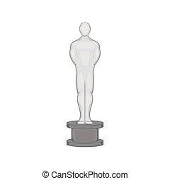Oscar icon, black monochrome style