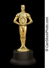 A gold figure reminiscent of an Academy Award with clipping path