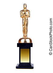 Oscar on white background. - Oscar on a support, on a white ...