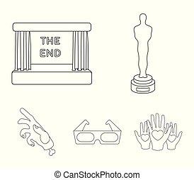 oscar, style, ensemble, contour, icônes, film, symbole, web., récompense, collection, écran, vecteur, glasses., illustration, films, 3d, pellicule, stockage