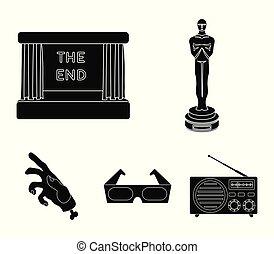 oscar, style, ensemble, icônes, film, symbole, web., récompense, collection, écran, vecteur, glasses., illustration, films, noir, 3d, pellicule, stockage