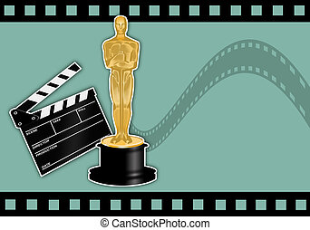 Oscars statuette  - illustration of Oscars award with film