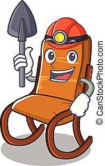 oscillante, forma, sedia, minatore, cartone animato