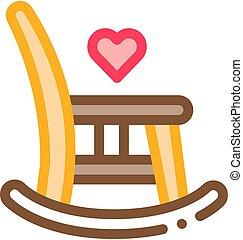 oscillante, icona, vettore, illustrazione, sedia, contorno