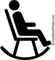 oscillante, uomo, sedia, pictogram