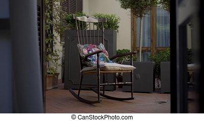 oscillation, balancer, terrasse, chaise