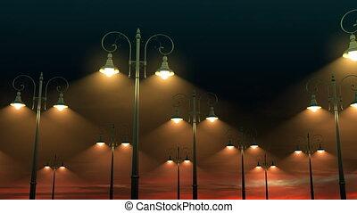 oscillation, ciel nuit, fond, lanternes
