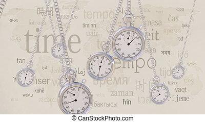 oscillation, contre, concepts., retro, différent, boucle, même, agrafe, seamless, inscriptions, chronomètres, temps, transience, timezone, languages., 4k