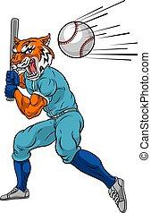 oscillation, mascotte, joueur boule, tigre, chauve-souris, base-ball