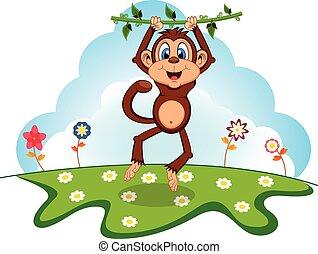 oscillazione, scimmia, viti, cartone animato