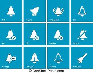 oscillazione transitoria, icone, su, blu, fondo.
